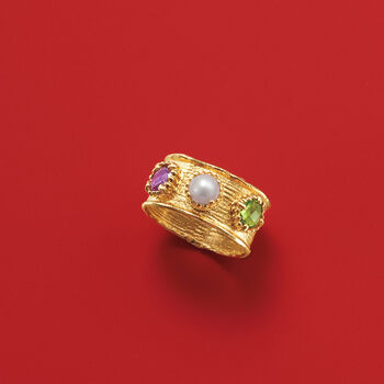 Italian 5mm Cultured Button Pearl, .50 Carat Amethyst and .50 Carat Peridot Ring in 14kt Gold, , default