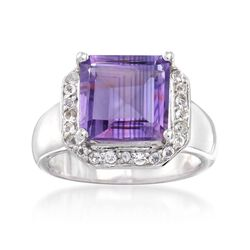 3.70 Carat Amethyst and .40 ct. t.w. White Topaz Ring in Sterling Silver, , default