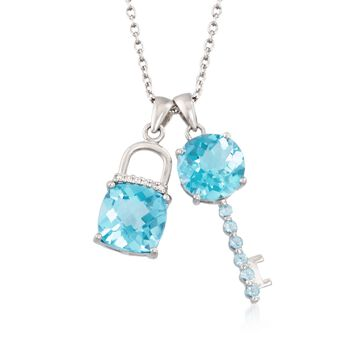 "8.40 ct. t.w. Blue Topaz Lock and Key Charm Necklace With Diamond Accents in Sterling Silver. 18"", , default"