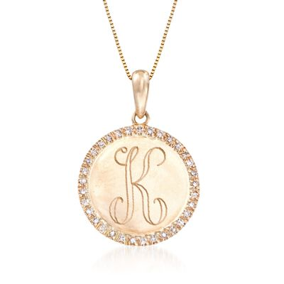 .10 ct. t.w. Diamond Single Initial Circle Pendant Necklace in 14kt Yellow Gold, , default