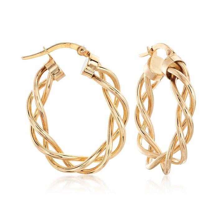 "Italian 14kt Yellow Gold Braided Hoop Earrings. 1 1/8"", , default"