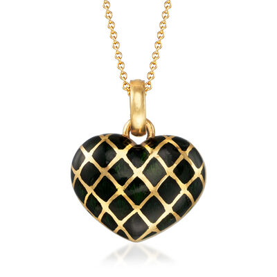 C. 1980 Vintage Black Enamel Heart Pendant Necklace in 18kt Yellow Gold, , default