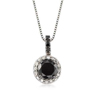 1.50 ct. t.w. Black and White Diamond Pendant Necklace in Sterling Silver, , default
