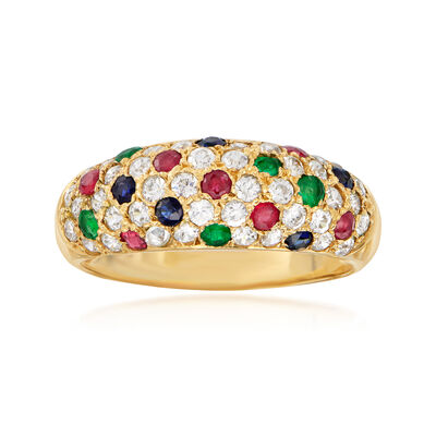 C. 1990 Vintage 1.15 ct. t.w. CZ and .55 ct. t.w. Multi-Gem Ring in 14kt Yellow Gold, , default