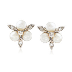 C. 1970 Vintage 7mm Cultured Pearl and .60 ct. t.w. Diamond Cluster Clip-On Earrings in 14kt White Gold, , default