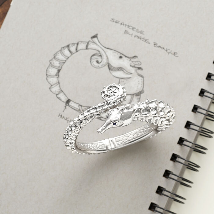 Italian Sterling Silver Seahorse Bypass Bangle Bracelet with Sapphire Accents