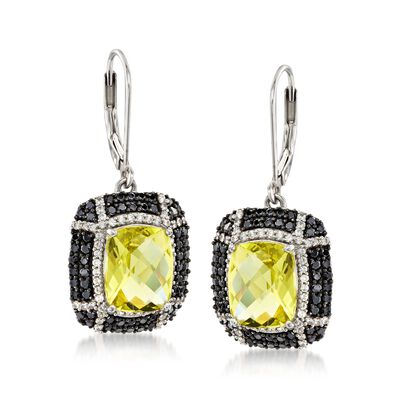 7.00 ct. t.w. Lemon Quartz and 1.40 ct. t.w. Black Spinel Earrings in Sterling Silver