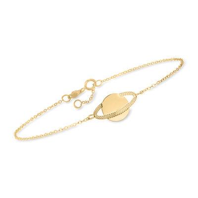 Italian 14kt Yellow Gold Saturn Bracelet