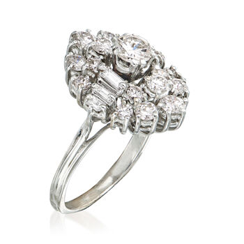C. 1960 Vintage 1.70 ct. t.w. Diamond Cluster Ring in 18kt White Gold. Size 6, , default