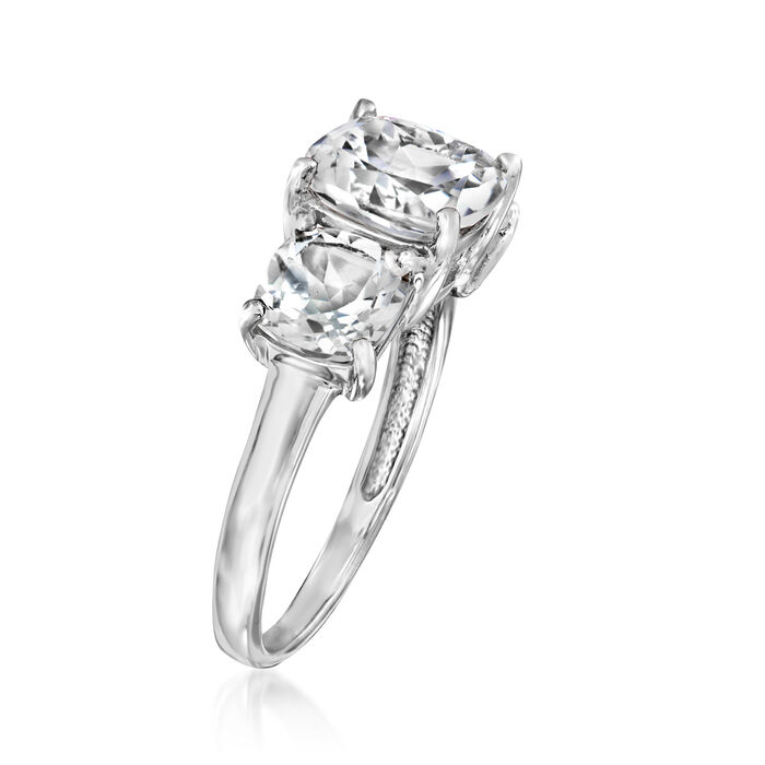 4.50 ct. t.w. White Topaz Three-Stone Ring in Sterling Silver