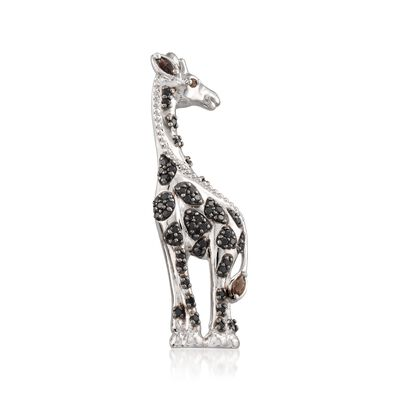 .90 ct. t.w. Black Spinel and .12 ct. t.w. Smoky Quartz Giraffe Pin in Sterling Silver, , default