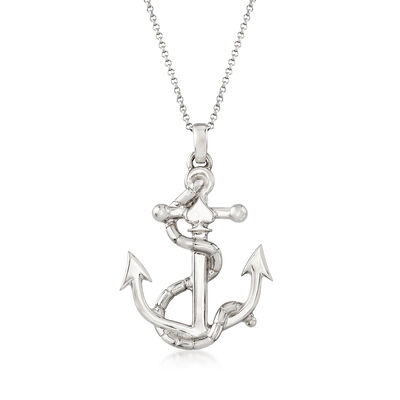 Italian Anchor Pendant Necklace in Sterling Silver, , default