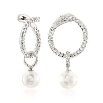 """Mikimoto """"Classic"""" .45 ct. t.w. Diamond and 7mm A+ Akoya Pearl Open Swirl Drop Earrings in 18kt White Gold , , default"""