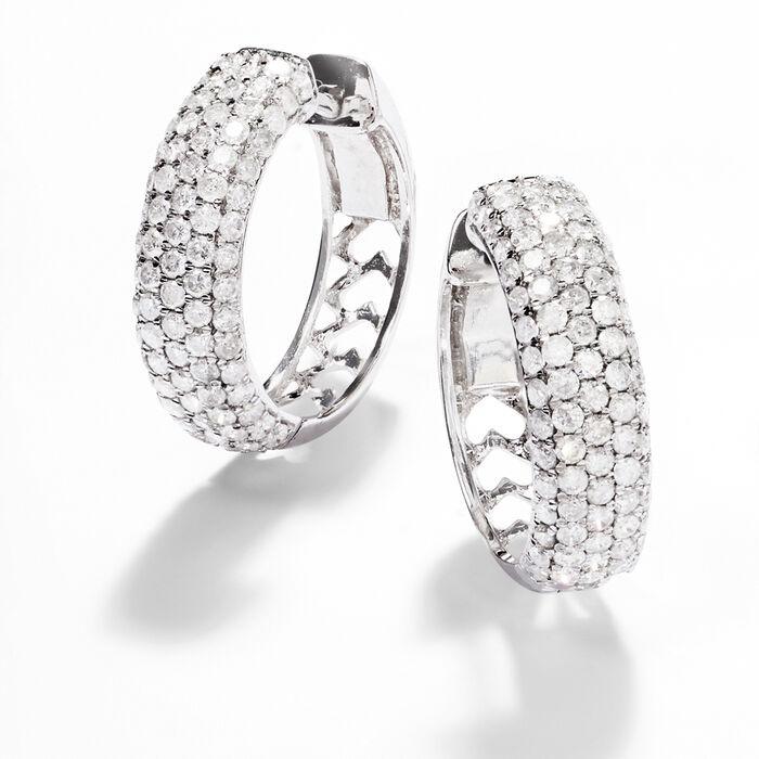2.00 ct. t.w. Diamond Hoop Earrings in 14kt White Gold