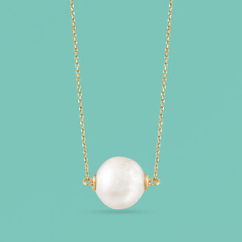 11mm Cultured Pearl Necklace in 14kt Yellow Gold, , default