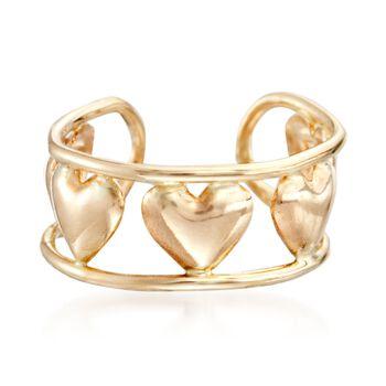 14kt Yellow Gold Heart Pattern Single Ear Cuff, , default