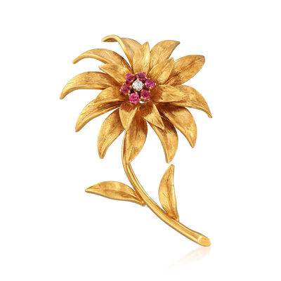 C. 1970 Vintage Tiffany Jewelry .40 ct. t.w. Ruby Floral Pin in 18kt Yellow Gold, , default