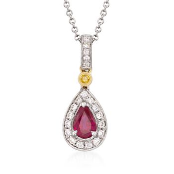 """Simon G. .50 Carat Ruby and .16 ct. t.w. Yellow and White Diamond Pendant Necklace in 18kt Two-Tone Gold. 18"""", , default"""