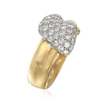 C. 1990 Vintage 1.20 ct. t.w. Pave Diamond Twist Ring in 18kt Yellow Gold. Size 8, , default