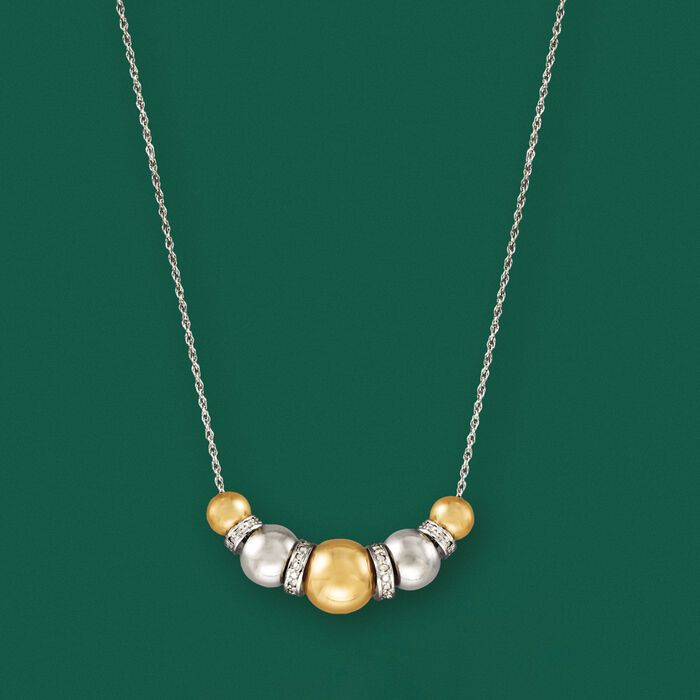 Sterling Silver and 14kt Yellow Gold Bead Necklace with .35 ct. t.w. Diamonds