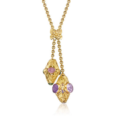 C. 1980 Vintage Multi-Gem Bolo-Style Necklace in 18kt Yellow Gold, , default
