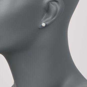 5mm Round Opal Stud Earrings With Teacup Settings in Sterling Silver, , default