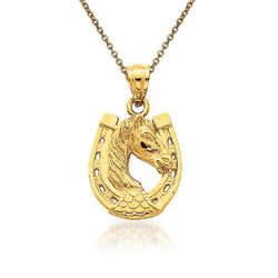 "14kt Yellow Gold Horse Head Pendant Necklace. 18"", , default"