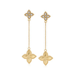 """Roberto Coin """"Princess Flower"""" Diamond-Accented Drop Earrings in 18kt Yellow Gold, , default"""