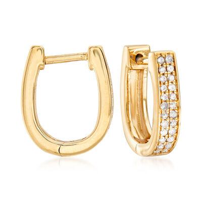 .25 ct. t.w. Diamond Oval Hoop Earrings in 18kt Gold Over Sterling