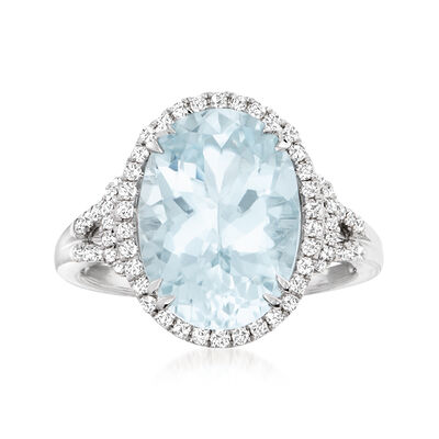 5.70 Carat Aquamarine and .36 ct. t.w. Diamond Ring in 14kt White Gold