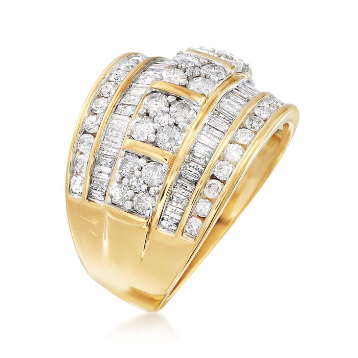 2.00 ct. t.w. Round and Baguette Diamond Multi-Row Ring in 18kt Gold Over Sterling