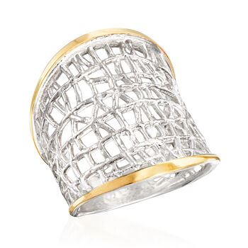 Sterling Silver and 14kt Yellow Gold Free-Form Lattice Ring, , default