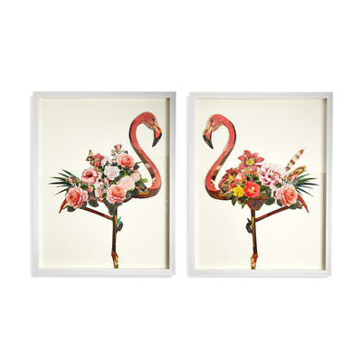 "Set of 2 ""Floral Flamingo"" Paper Collage Wall Art, , default"
