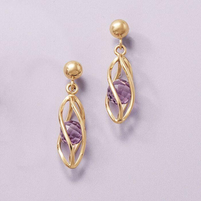 2.00 ct. t.w. Amethyst Cage Drop Earrings in 14kt Yellow Gold