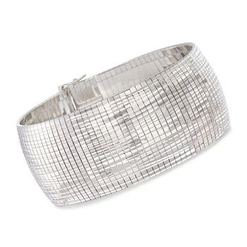 "Italian Sterling Silver Diamond-Cut Omega Bracelet. 7.5"", , default"