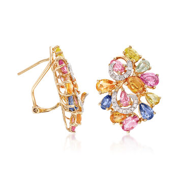 8.00 ct. t.w. Multicolored Sapphire and .27 ct. t.w. Diamond Cluster Earrings in 14kt Yellow Gold, , default