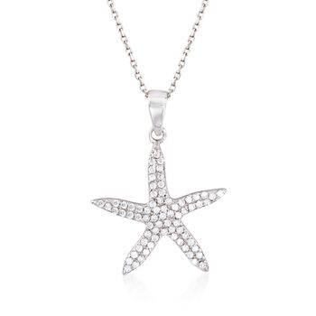 """.40 ct. t.w. CZ Starfish Pendant Necklace in Sterling Silver. 18"""", , default"""