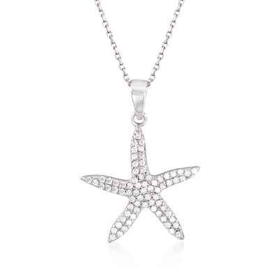 .40 ct. t.w. CZ Starfish Pendant Necklace in Sterling Silver, , default