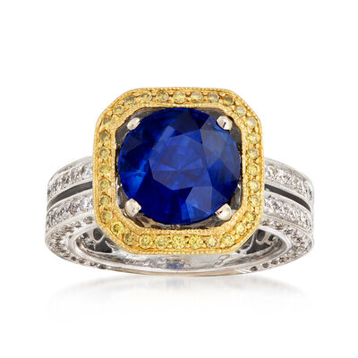 C. 1990 Vintage 2.93 Carat Sapphire and 1.60 ct. t.w. Yellow and White Diamond Ring in Platinum, , default