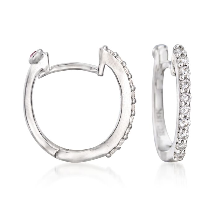 "Roberto Coin .20 ct. t.w. Diamond Huggie Hoop Earrings in 18kt White Gold. 3/8"", , default"