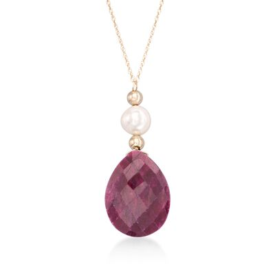 10.00 Carat Ruby and Cultured Pearl Drop Necklace in 14kt Yellow Gold
