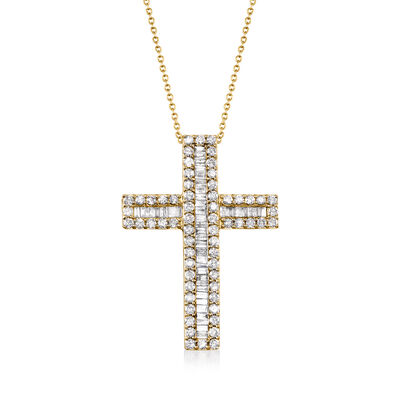 3.00 ct. t.w. Baguette and Round Diamond Cross Pendant Necklace in 18kt Gold Over Sterling, , default