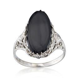 C. 1950 Vintage Black Onyx Ring in 14kt White Gold. Size 5.5, , default