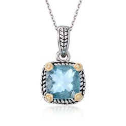 "2.45 Carat Blue Topaz Necklace in Sterling Silver and 14kt Yellow Gold. 18"", , default"
