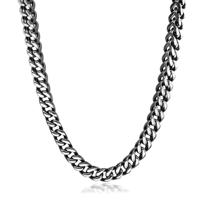 "Men's Black Stainless Steel Jewelry Set: Foxtail Link Necklace and Bracelet. 24"", , default"