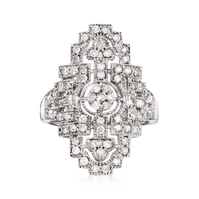 1.00 ct. t.w. Diamond Art Deco-Inspired Ring in Sterling Silver