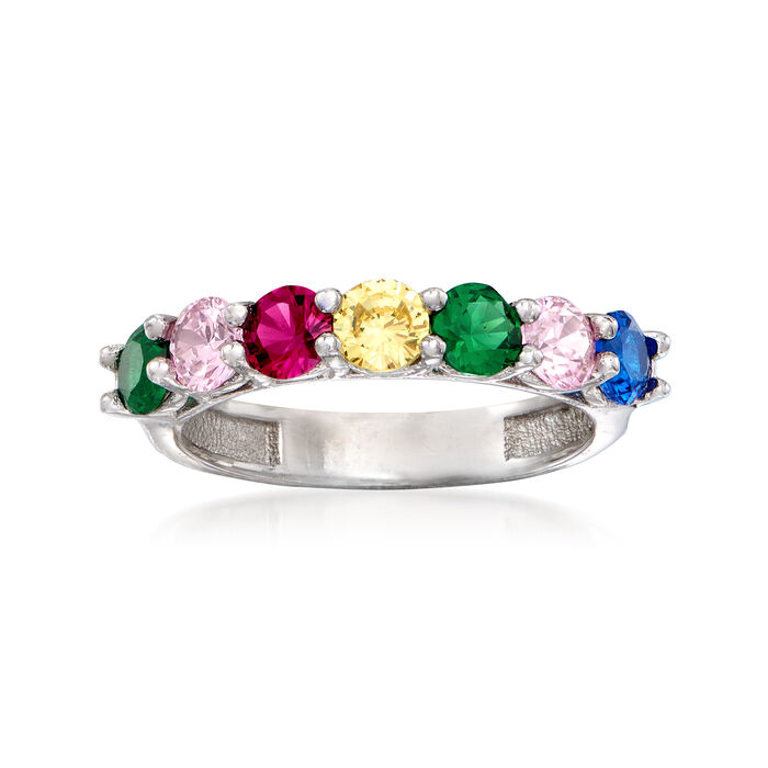 .35 ct. t.w. Rainbow CZ Ring in Sterling Silver, , default
