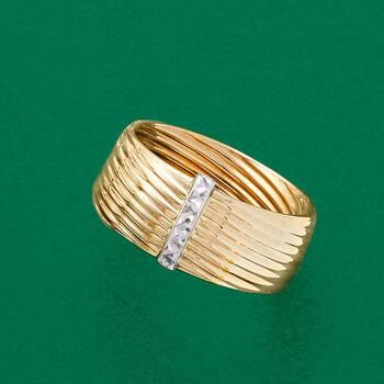 Italian 14kt Two-Tone Gold Bar Ring