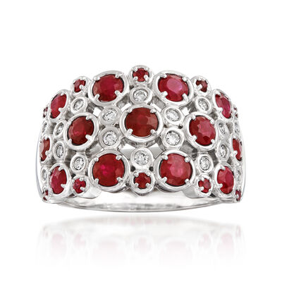 1.90 ct. t.w. Ruby and .20 ct. t.w. Diamond Bubble Ring in 14kt White Gold, , default