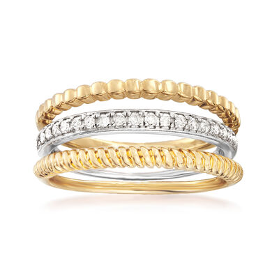 .20 ct. t.w. Diamond Jewelry Set: Three Rings in Sterling Silver and 18kt Gold Over Sterling, , default